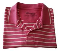 Weatherproof Men's XL Pink White Striped Short Sleeve Casual Polo Shirt Cotton