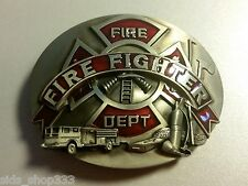 ♈ FIRE DEPARTMENT Belt Buckle red inlets  ♈ Fire Dept Great gift.Classic style