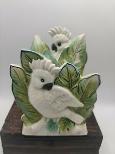 Fitz and Floyd Cockatoo Parrot Tropical Bird Porcelain Napkin Mail Letter Holder