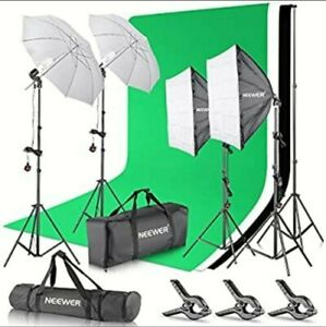 Neewer 2.6M x 3M 8.5ft x 10ft Background Support System and 800W 5500K Umbrellas