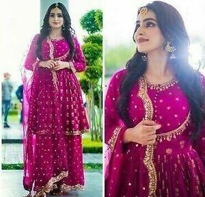 Indian Traditional Sharara Kurta Designer Net Dupatta Stitched Palazzo Kurta Set