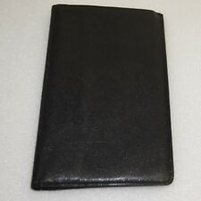 Mens Slim Bifold Wallet Travel Checkbook Billfold Grained Morocco Black Leather