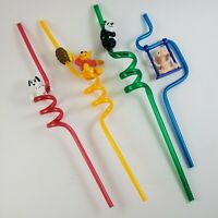 VINTAGE 90s Character Straws by Applause - 101 Dalmatians, Winnie the Pooh, ET