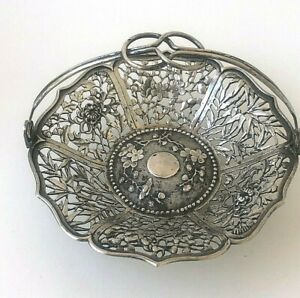 Antique C.J. & Co Chinese Fine Silver Openwork Floral Small Handled Basket