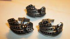 Vintage Cuff links & Tie Clip, Roman Colosseum, Pat Pend.