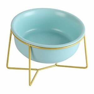Blue Large Ceramic Tilted Elevated Cat Dog Bowl Raised Cat Food Water