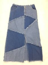 Sunshine Apparel Hipster Denim Jean Patch Fray Modest Long Skirt Boho 11 /12 Jrs
