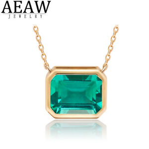 3ct Lab Grown Emerald Pendant Necklace Bezel Setting Solid Real 14K Yellow Gold