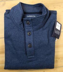 CROFT BARROW Large Tall Men's Fleece Mockneck 1/4 Button Pullover Sweater Sz LT
