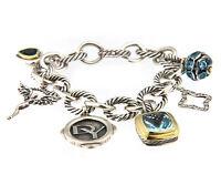 David Yurman 25th Anniversary Charm Bracelet with Topaz & Diamonds in Sterling