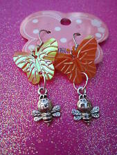 Orange Shiny Sequin Butterfly and Bee Earrings Usa