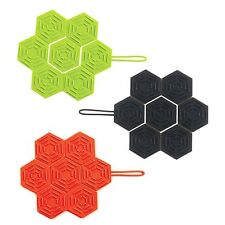 Mastrad Foldable Hexagonal Silicone Trivet - Green, Charcoal Black or Red