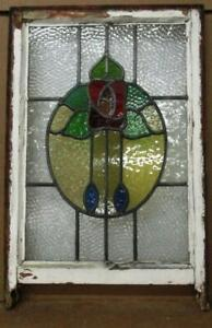 """EDWARDIAN ENGLISH LEADED STAINED GLASS SASH WINDOW Pretty Roses 18"""" x 25.25"""""""