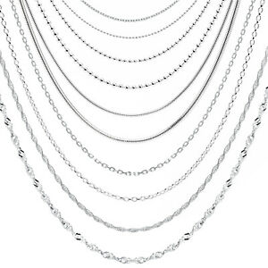 925 Sterling Silver Necklace Chain Rope Link Trace in Various lengths