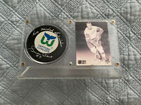Gordie Howe Framed Signed Autographed Auto Hartford Whalers Hockey Puck Genuine