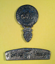 Silver Plated Vanity Mirror & Comb Set Repousse