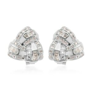 Stud Solitaire Earrings Platinum Plated 925 Sterling Silver White Diamond Gift
