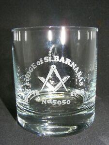 Masonic Whisky Glass Engraved ST BARNABAS LODGE 5050 ANNIVERSAY FREE POST