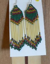 Native American Themed Beaded Porcupine Quill Earrings / Sterling hook/Western