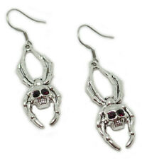Gothic Silver Spider Skull Arachnid Earrings Goth Witch Vampire Halloween