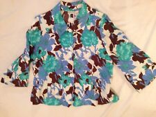 Kim Rogers Woman's Aqua Floral  3/4 Sleeves With Pockets Linen Jacket  Large