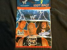 WWF WWE The Rock Goody Loot Party Gift Bags Stone Cold Undertaker - 8 Ct WCW TNA