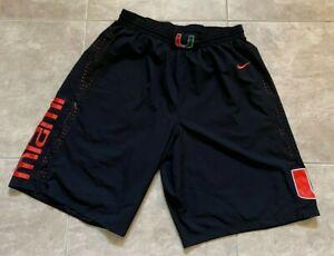 Nike University of Miami Hurricanes Black Elastic Waist Athletic Shorts Mens 2XL
