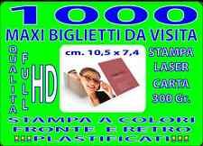 1000 BIGLIETTI DA VISITA MAXI CM 7 X10  A COLORI FRONTE E RETRO PLASTIFICATI