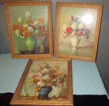 3 Antique still lifeby Carle J Blenner prints gold wood frames signed