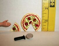 MINIATURE RE-MENT FASHION DOLL 1/6 ACCESSORY RETIRED PIZZA AND CUTTER FOOD