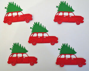 Christmas Red Truck Tree Paper Die Cut Paper Set of 5 Embellishment Cardmaking