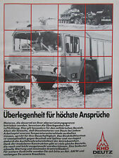 9/1982 PUB KHD DEUTZ MOTEUR DEUTZ MILITARY TRUCK PORTE-CHAR FAUN WERKE GERMAN AD