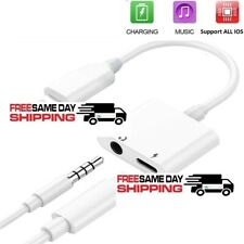 2in1 iPhone Audio Splitter Adapter Charger 3.5mm AUX Earphone 7 8 X Plus XR MAX