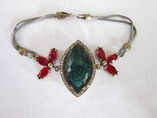 Turkish Design Sterling Silver & Bronze Bracelet Green Crystal & Synthetic Ruby
