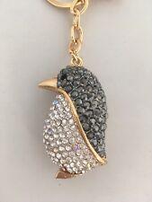 Cute Diamante Penguin Keyring Rhinestone handbag Charm Bling NEW Christmas gift