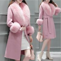 Womens Fur Collar Wool Blend Coat a Button Jacket Trench Belted Slim Fit Outwear