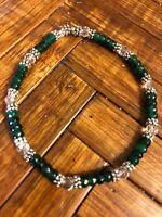 Pretty 2x4mm Dark Green Emerald, Clear Crystals & Bali Silver. Stretch Bracelet