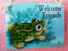 Frog Welcome Sign Key Hook Wall Art Plaque Home Decorative Ornament Decoration