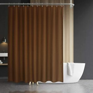 Brown Textured Simple French Country Water-Repellent Fabric Shower Curtain