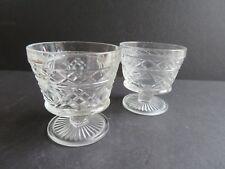 2 Vintage Hazel Atlas Gothic Glass Big Top Peanut Butter Sherbet Glasses (W1)