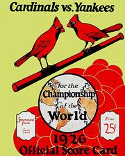 Cardinals 1926 World Series Score Card Art Poster - 8x10 Photo
