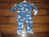 NEW NWT Carters boys size 3 months blue fleece arctic animal sleeper