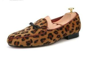 new Mens Leopard Pattern Genuine Velvet Leather Loafers Slip On Dress Shoes sz