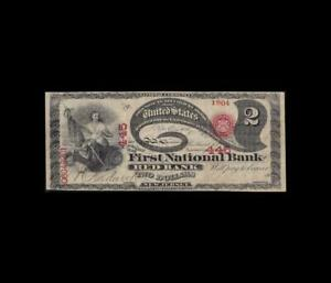 ULTRA RARE ALL ORIGINAL1875 $2 NATIONAL LAZY DEUCE RED BANK, N.J. VERY FINE