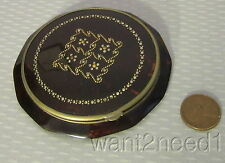20s/30s vtg French art deco MARCASITE TORTY CELLULOID COMPACT brass bead inlay