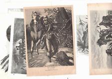 Indianer 19 x wood Engraving alte Holzstiche Indians Trapper 1870-1875
