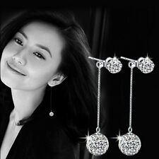 Plated Silver Earrings South Korea Ball Drill Tassel Exaggerated Long Gift