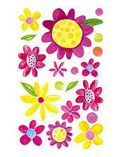 Girly Flowers Pop Modern Pink Yellow Wallies Decals Flower Power Stickers Decals