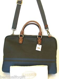 NEW FOSSIL ESTATE GREEN+BLUE CANVAS BRIEFCASE,HAND,CROSS BODY+VTY DOC+DUST BAG
