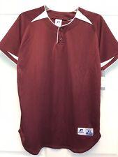Russell Athletic Youth Xl Baseball Short Sleeve Shirt - Maroon w/White trim Nwt